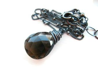 Smoky Quartz Necklace Smokey Quartz Brown Crystal Pendant Sterling Silver Oxidized Necklace Simple Necklace Quartz Pendant Gift Idea For Her