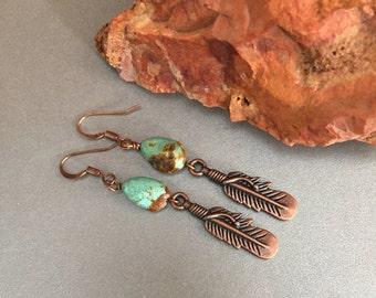 Southwestern Turquoise Copper Feather Earrings, Turquoise Gemstone Beaded Earrings, Sedona Cowgirl Western