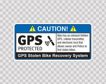 Decals Sticker Gps Protected Prevention Sign Bike safety sign Security 14064