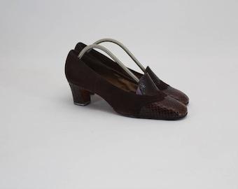 80s • Vintage • Brown Shoes • Brown Leather Shoes • Ladies Brown Shoes • Women's • Leather Shoes • Women's Shoes • US 8.5 • UK 6 • EU 39