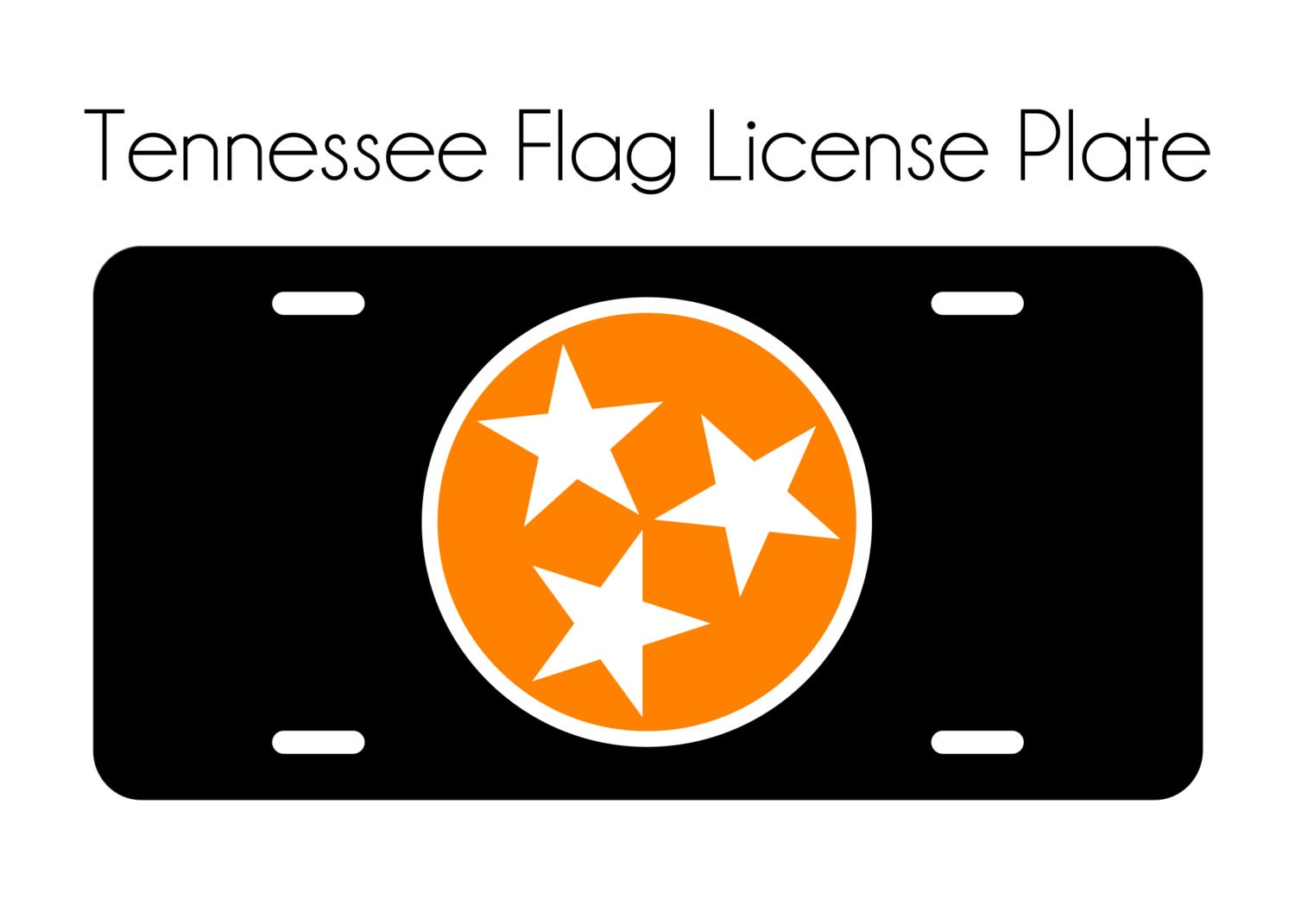 Tennessee License Plate Car Tag Orange White TN State Flag 3