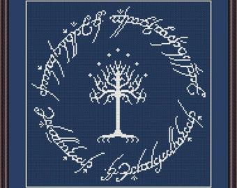 White Tree of Gondor cross stitch pattern Instant Download PDF