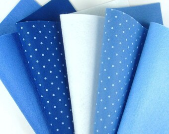 5 Colors Felt Set - Blue Mix - 20cm x 20cm per sheet