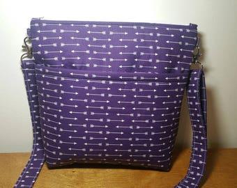 Purple Crossbody Bag, Shoulder Bag, Purse with adjustable Strap, Gift for Her