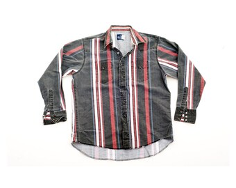 Wrangler Western Pearl Snap Button Down Shirt Vintage Retro