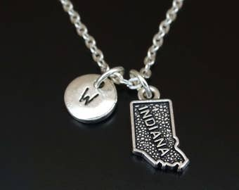 Indiana Necklace, Indiana Charm, Indiana Pendant, Indiana Jewelry, Indiana State Necklace, Indiana State Jewelry, Indiana Gifts, Indiana