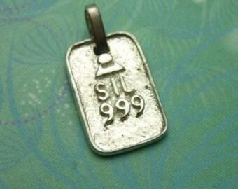 Vintage Sterling Silver Dangle Charm - Tag 4