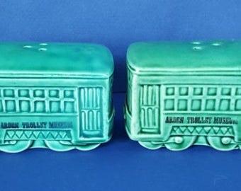Vintage Trolley Car Salt & Pepper Shakers - Arden Trolley Museum 1950's