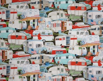 Allover Vintage Camper Trailer Print Pure Cotton Fabric--One Yard