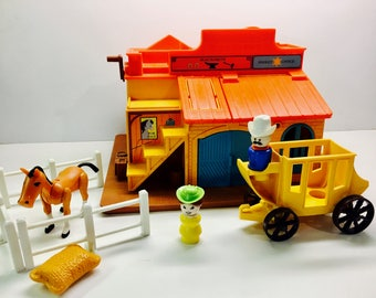 Vintage Fisher Price 'Western Town', Set With Little People and Accessories - CLASSIC TOY