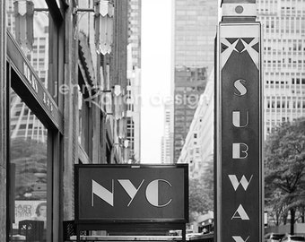 New York Subway Sign, NYC Photo • New York City Photo Series • NYC Subway New York Black and White Photo, Art Deco Photography Print