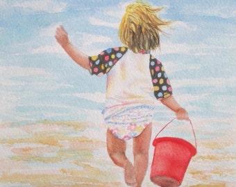Beach Girl Art Print, Beach Girl Painting, Beach Nursery Decor, Coastal Art, Beach Wall Art, Kids Child Room Decor, Beach Watercolor Art