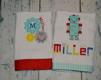 Personalized Robot Burp cloths Set of 2 Monogrammed Boys Burpee