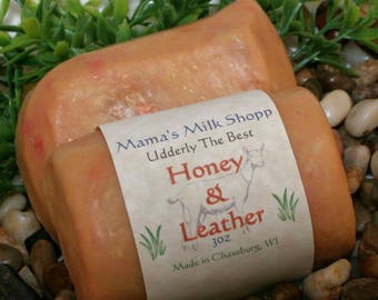 Honey and Leather ~ Homemade Soap ~ Farm Fresh ~ Goat Milk Soap ~ Goats Milk Soap ~ WAHM ~ Goat's Milk Soap ~ Goat Soap ~ Handcrafted Soap