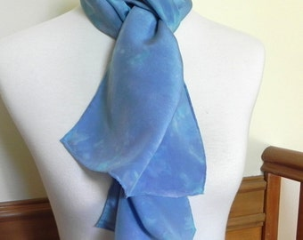 Crepe Silk Scarf Hand Dyed Shades of Blue and Turquoise, long silk scarf #432, Ready to Ship