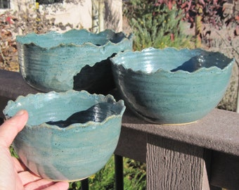 Set of Two Nesting Bowls in Rocky Mountian Design - Handmade Pottery
