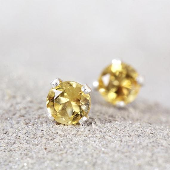 Citrine Stud Earrings - Silver Citrine Earrings