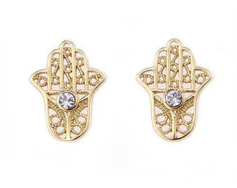 Gold Hamsa with Earrings with Simulated Diamonds from GOLDFOR10