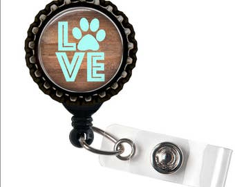 ANIMAL LOVER - Pawprint - Black Retractable Badge Reel ID Holder