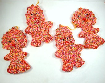 Vintage Christmas Ornaments, Kitschy, Boy, Girl, Candy Coated, Multi Color Plastic Beads, Unusual, New Old Stock (301-13)