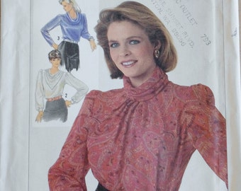 Vintage Sewing Pattern, Simplicity 7092, 80s Blouse, 1980s Shirt, Cowl Neckline, Long Sleeve Shirt, Office Wear, Extra Small XS B31.5