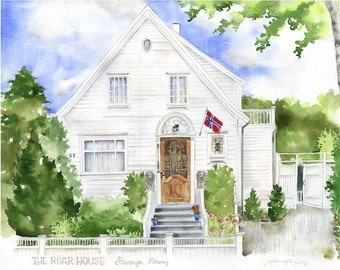 Custom House Painting - Watercolor House - Home portrait - Original House painting - Housewarming gift