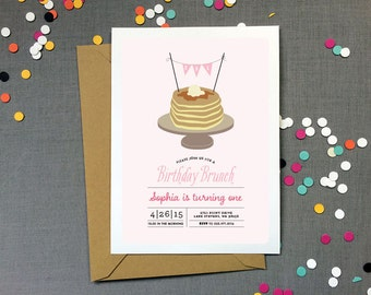 Pancake Brunch Birthday Party Invitation for a girl - Kid's Birthday Party - Printable