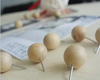 10 pcs Push Pins -- Wooden Push pin -- Push Pin