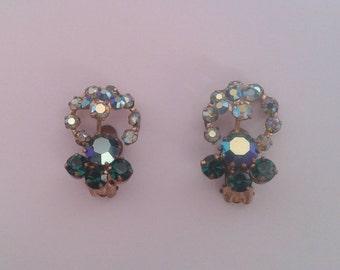Vintage 1960's Green Blue Sparkling Aurora Borealis Austrian Rhinestone Flower Clip On Earrings Mid Century Mod Costume Jewelry