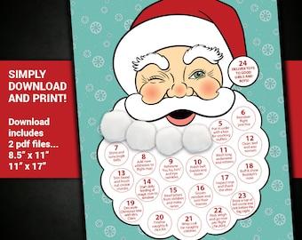 Christmas countdown 2017, Christmas countdown decorations, calendar, santa, santa claus, christmas, countdown, cotton ball, beard, printable