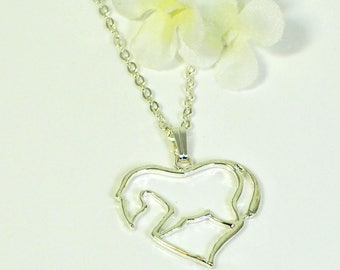 Horse Necklace Heart of the Horse- Equestrian Jewelry- Horse Lover Gift- Animal Jewelry- Horse Jewelry- Equine Jewelry- Equestrian Gift