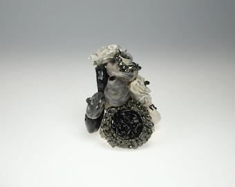 Hand-thrown ceramic sculptural art, handmade, black-white