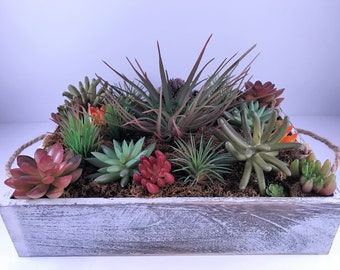 Artificial Succulent Wooden Tray Arrangement / Artificial Succulent Arrangement / Succulent planter / Succulent Arrangement