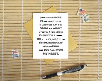 You Have Won My Heart - Awards Card // Sweet romantic Valentine, Birthday or Anniversary Card for Him or Her