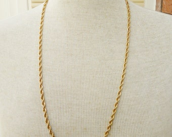 Vintage Monet Chain Necklace, Long Monet Necklace, Monet Neavy Twisted Rope Necklace