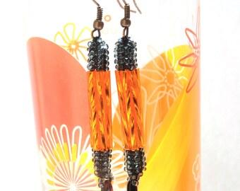 Orange dangle earrings with black - sparkly beaded dangling ear jewelry - handmade beadwork - long seed & bugle bead earings - party jewelry