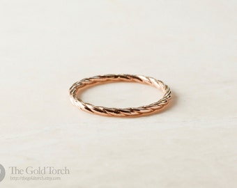 Wedding Ring, Gold or Platinum 1.6mm Twisted Wire Stackable Ring