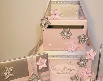 Wedding Card Box,4Sets,3tier Silver and Light Pink Card Box Guest book and Pen Holder.Gift Card Box Money Box Holder-Customize your color
