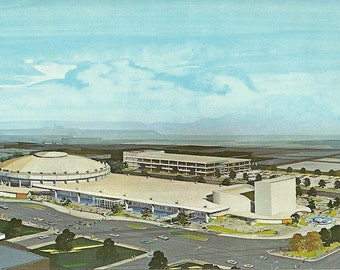 Vintage 1960s Postcard Texas Fort Worth Tarrant County Convention Center Concept Art Design Drawing Photochrome Era Postally Unused
