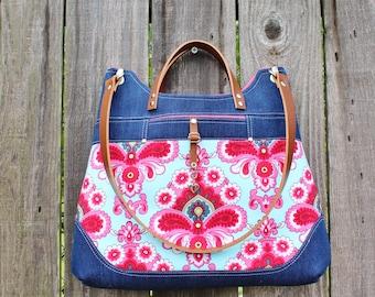 Chic Blue Denim Purse, Belle Aqua and Pink modern damask Handbag Shoulder bag, ewith leather straps
