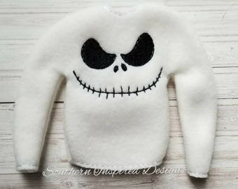 "Skellington 12"" Elf/Doll/Barbie Sweater Holiday Christmas Costume Sweatshirt Shirt"