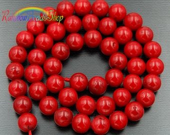 Natural Red Coral Beads, 2mm Red Coral Beads, 3mm Red Coral Beads, Red Beads, Red Gemstone Beads, Round Natural Beads, Spacer beads