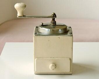Vintage wooden coffee grinder Retro kitchen decor Manual herb grinder Wooden hand mill Collectible