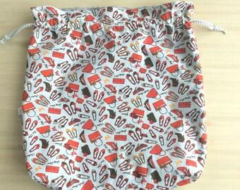 Maxi pochon XL en coton ou sac à encours et projet tricot ou crochet