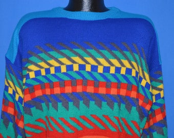 80s Ocean Pacific Geometric Multi-Color Sweater Large