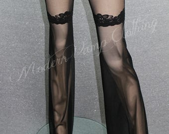 Flare Leg Thigh Tops / Mesh & Lace Flared Stockings / Sexy