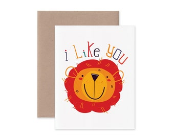 I Like You Lion Greeting Card • Cute Love and Friendship Stationery