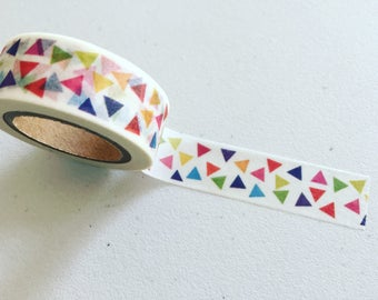 Triangles Washi Tape, Geometric Shapes Planner Washi, Geometry Decorative Tape, Gift Wrapping, Scrapbook Supply, Party Supply (10M)