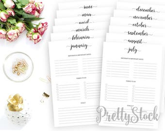 Yearly Planner Printable, Yearly Planner Inserts, Monthly Planner, Annual Planner, Birthdays, Goals, To Do, A4, A5, Letter, Half letter