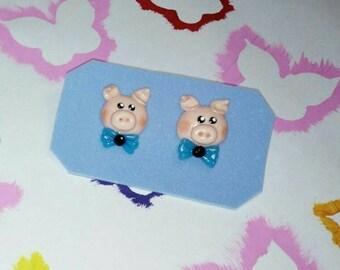Earrings piggy (girl & boy) cold porcelain/ Aretes puerquito(niña y niño) porcelana fria
